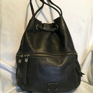 The Sak Black Leather Drawstring Backpack